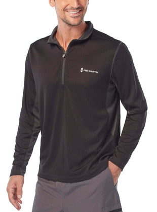 Free Country Men's Pin-Dot Quarter Zip Long Sleeve Active Shirt - Black - S