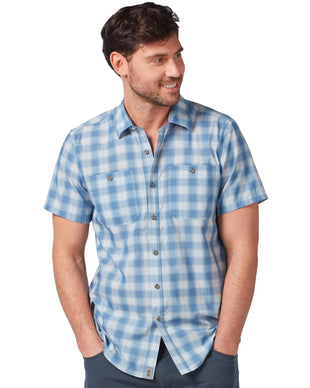 Free Country Men's Poplin Adventure Short Sleeve Shirt - Compass Blue - S