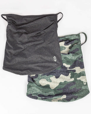 Free Country Men's Protective Face Mask Gaiter w/ Filter Pocket - 2PC Set - Olive Camo-Charcoal - O/S
