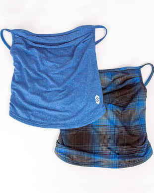 Free Country Men's Protective Face Mask Gaiter w/ Filter Pocket - 2PC Set - Rich Blue-Plaid - O/S