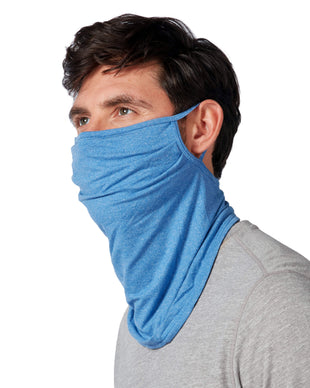 Free Country Men's Protective Face Mask Gaiter w/ Filter Pocket - 2PC Set - Grey-Rich Blue - O/S