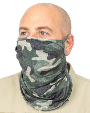 Free Country Men's Protective Face Mask Gaiter w/ Filter Pocket - 2PC Set - Black-Camo - O/S
