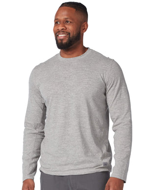 Free Country Men's Tech Textured Long Sleeve Tee - Grey - S