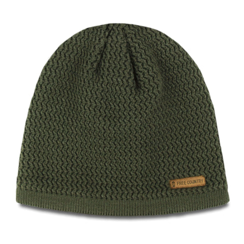 Free Country Men's Texture Knit Fleece-Lined Beanie - Olive - O/S