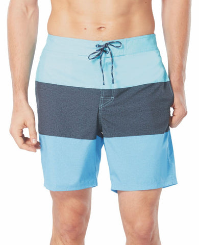 Free Country Men's Texture Stripe Board Short - Aqua Stripe - S