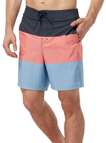 Free Country Men's Texture Stripe Board Short - Indigo Stripe - S