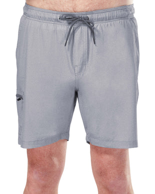 Free Country Men's Textured Board Short - Light Grey - S