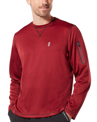 Free Country Men's Trail Running Crew Neck - Etched Red - S