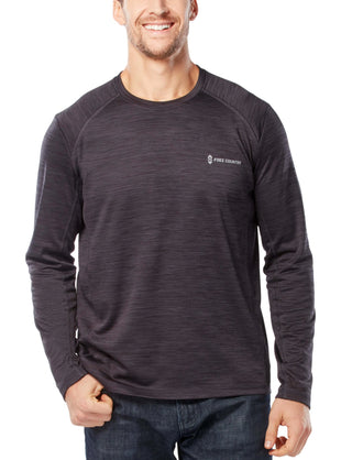 Free Country Men's Waffle-back Melange Crew Long Sleeve Shirt - Black - S
