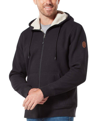Free Country Men's Waffle Sherpa Lined Hoodie - Black - S