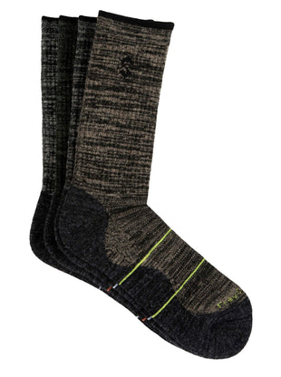 Free Country Men's Wool-Blend Black Marl Crew Socks - Black - 9-12