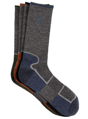 Free Country Men's Wool-Blend Colorblock Crew Socks - Grey - 9-12