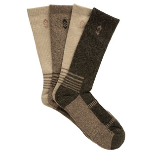 Free Country Men's Wool-Blend Marled Brown Crew Socks - Brown - 9-12