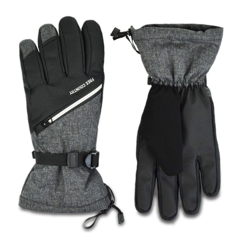 Free Country Men's Zip Pocket Ski Glove - Charcoal