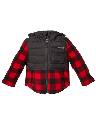 Free Country Toddler Boys' Pioneer Plaid Hybrid Fleece Jacket - Crimson Red - 2T