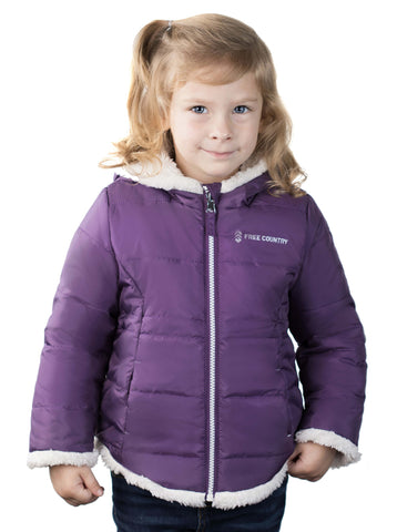 Free Country Toddler Girls' Adventuress Reversible Puffer Jacket - Dusty Grape