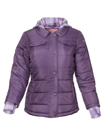 Free Country Toddler Girls' Frontier Puffer Shirt Jacket - Dusty Grape - 2T