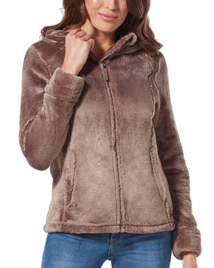 Free Country Women's Alpine Plush Pile Fleece Jacket - Vintage Brown - S