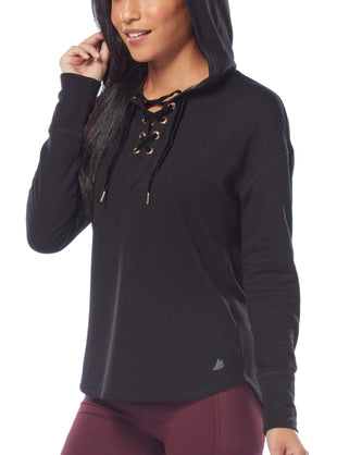 Free Country Women's B Luxe Lace-Up Hoodie - Black - S