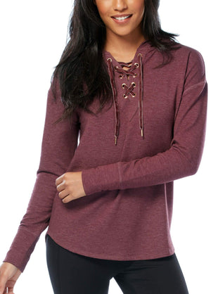 Free Country Women's B Luxe Lace-Up Hoodie - Oxblood - S
