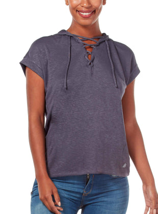 Free Country Women's B Sporty Lace Up Pullover - Charcoal - S