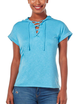 Free Country Women's B Sporty Lace Up Pullover - Wave Blue - S