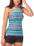 Women's Plus Size Beach Batik High Neck Braided Tankini Top
