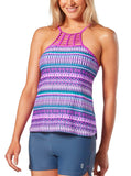 Women's Beach Batik High Neck Braided Tankini Top