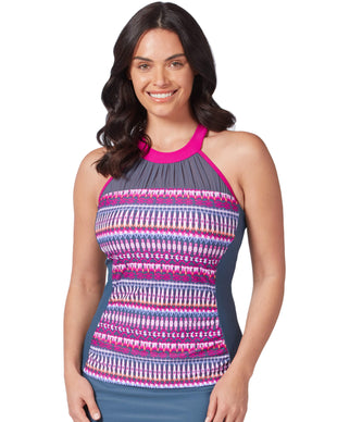 Free Country Women's Beach Batik Mesh High Neck Tankini Top - Magenta - S