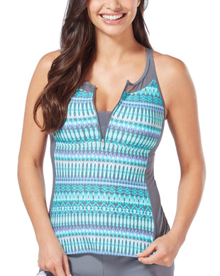 Free Country Women's Beach Batik Mesh Zip-Up Racerback Tankini Top - Pale Aruba - S