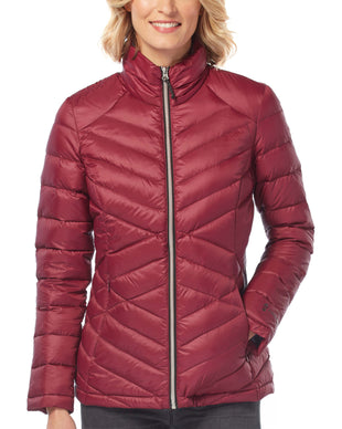Free Country Women's Bluster Chalet Cire Down Quilted Jacket - Merlot - S