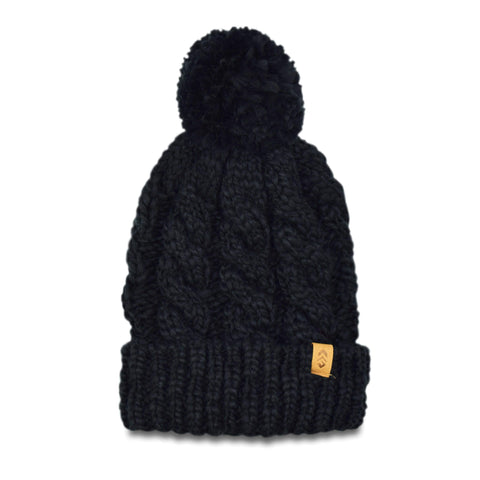 Free Country Women's Cable Knit Cuffed Beanie - Black - O/S