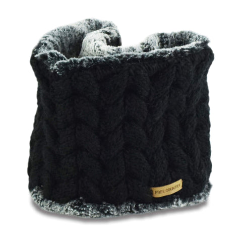 Free Country Women's Cable Knit Fur Lined Scarf - Black