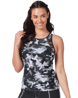 Free Country Women's Camo High Neck Tankini Top - Black - S