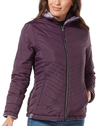 Free Country Women's Petite Cloud Reversible Puffer Jacket - Purple - PS