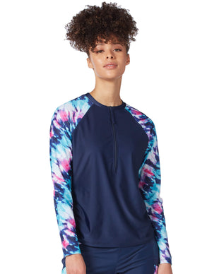 Free Country Women's Coastal Tie Dye Long Sleeve Sunshirt - Navy - S