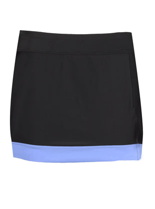 Free Country Women's Color Block Boarder Swim Skirt - Black-Mist Blue - S