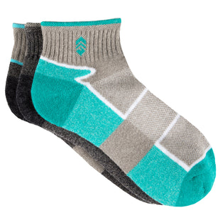 Free Country Women's Color Block Wool-Blend Quarter Socks 3-pk - Turquoise - 6-10