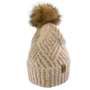 Free Country Women's Cross Cable Knit Beanie with Faux Fur Pom - Oatmeal - O/S