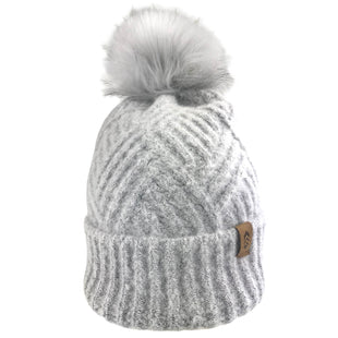 Free Country Women's Cross Cable Knit Beanie with Faux Fur Pom - Silver - O/S