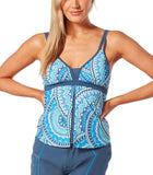 Free Country Women's Crystal Gem Flyaway Tankini Top - Azure - S