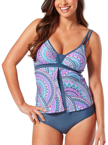 Free Country Women's Crystal Gem Flyaway Tankini Top - Berrylicious - S