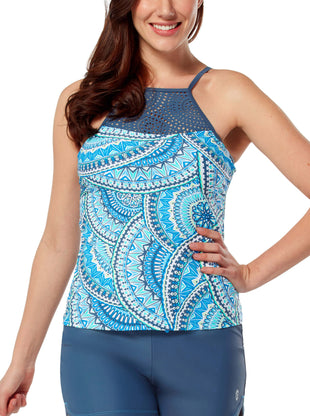 Free Country Women's Crystal Gem Laser Cut Tankini Top - Azure - S