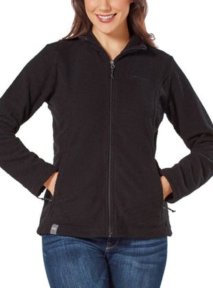 Free Country Women's Diamond Sculpted Fleece Jacket - Black - S