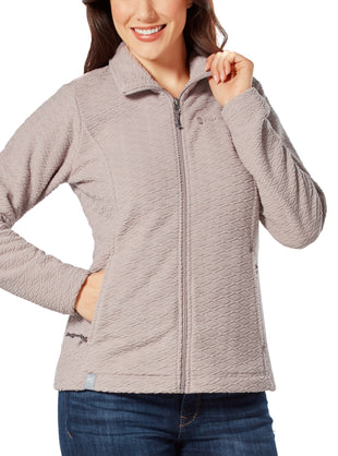 Free Country Women's Diamond Sculpted Fleece Jacket - Taupe - S