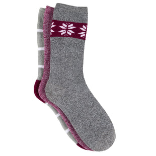 Free Country Women's Fair Isle Full Cushion Crew Socks - Grey - 6-10