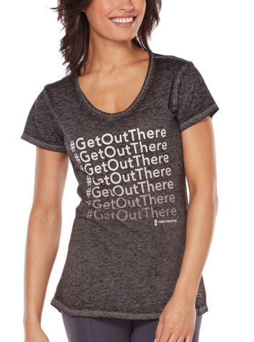 Free Country Women's Fresh Air Fund #GetOutThere Tee - Charcoal - S