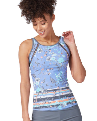 Free Country Women's Floral Paradise High Neck Tankini Top - Blue Iris - S