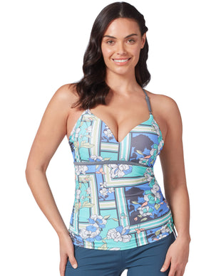 Free Country Women's Floral Sarong Triple Strap Tankini Top - Cloud Grey Multi - S