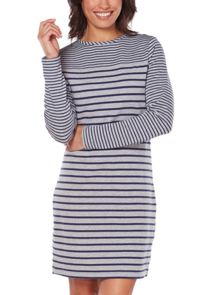 Free Country Women's Free 2 Hang Out Luxe Fleece Dress - Grey-Navy - S